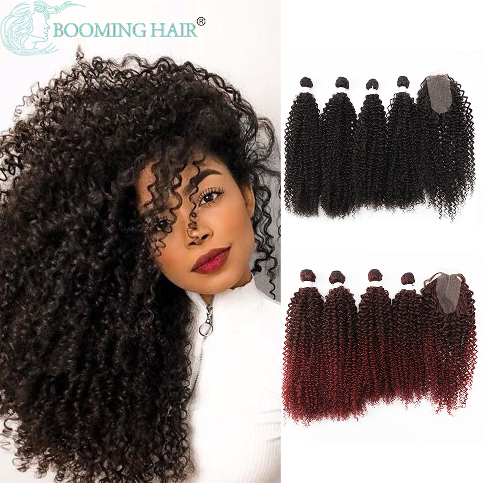 Synthetic Kinky Curly Bundles With Closure Two Tone Color  24