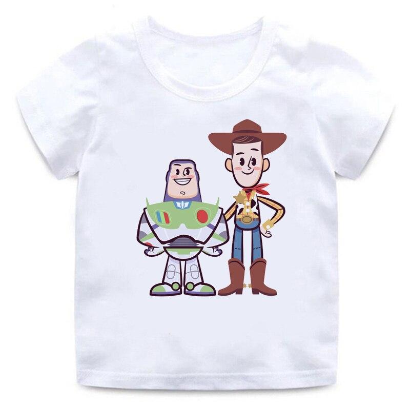 Белая футболка с круглым вырезом и мультяшным рисунком для мальчиков и девочек, забавная летняя одежда для детей, 2019