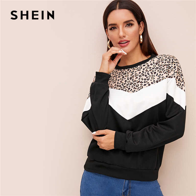 SHEIN Contrast Colorblock Print Casual Sweatshirt Women Pullover Tops 2019 Autumn Long Sleeve Basic Ladies Fashion Sweatshirts