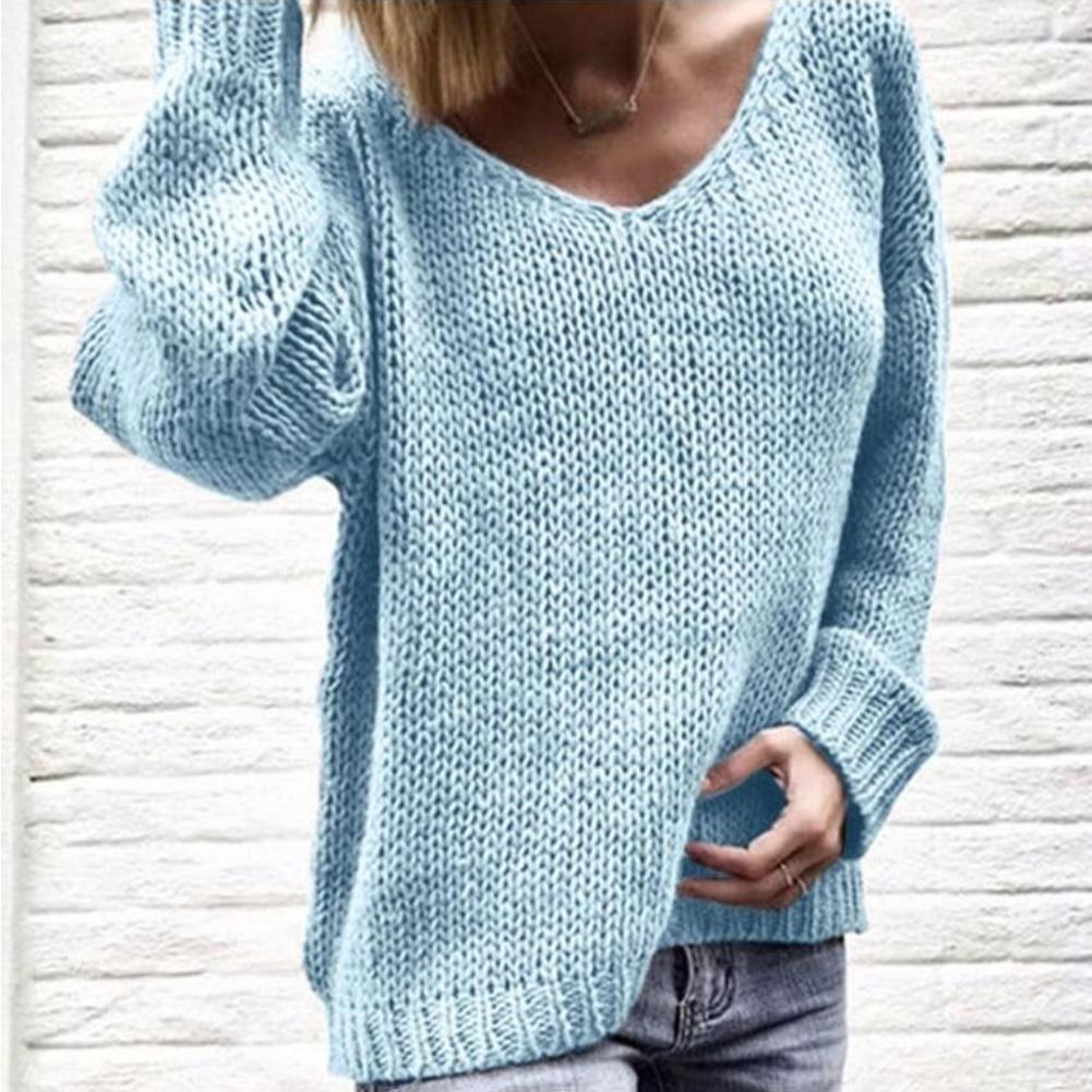 Sweater Women Autumn And Winter Ladies V-neck Tie With Contrast Stripes Knitted Long-sleeved Sweater водолазка женская