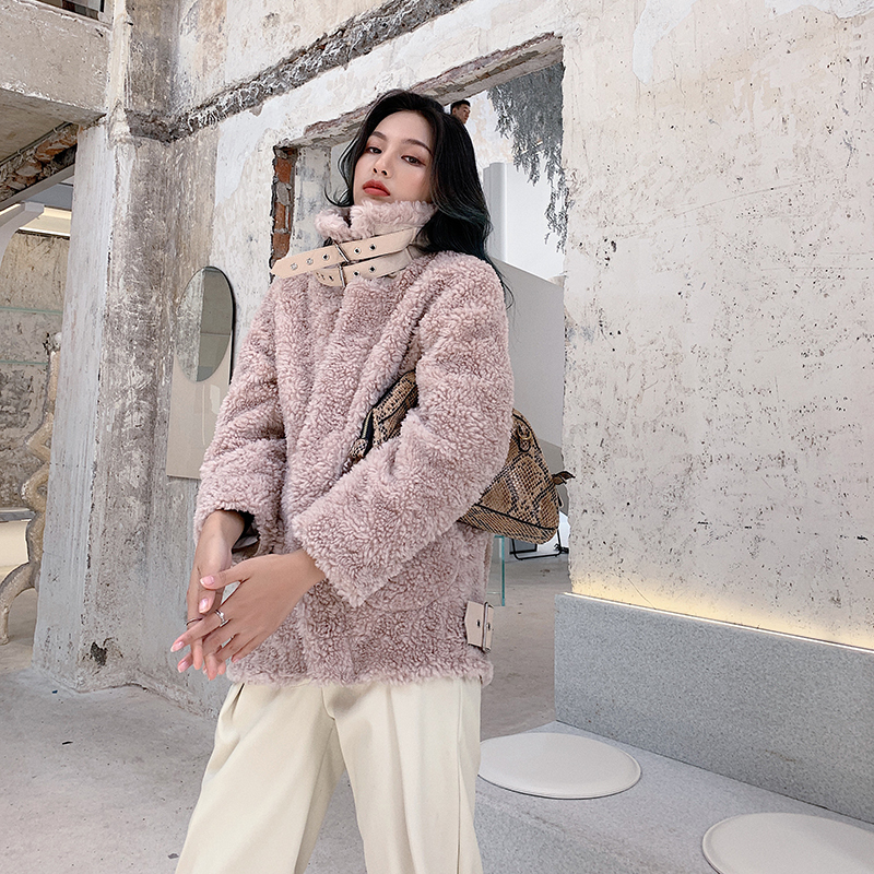Real Fur Coat Sheep Shearing Winter Coat Women Korean Motorcycle 100% Wool Jacket Women Clothes 2020 Manteau Femme 213 YY1054
