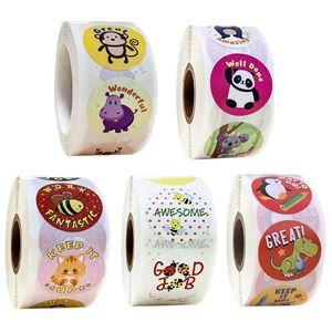 500pcs/roll Cartoon Animal Reward Stickers Diary Scrapbooking Teacher Incentive Drop Shipping