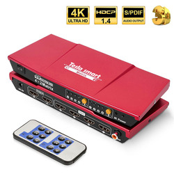 4K HDMI Matrix 4x2 HDMI Switcher Splitter 4 Ports Input and 2 Ports Output with Analog Stereo(SPDIF) Support 4Kx2K@30HZ HDCP