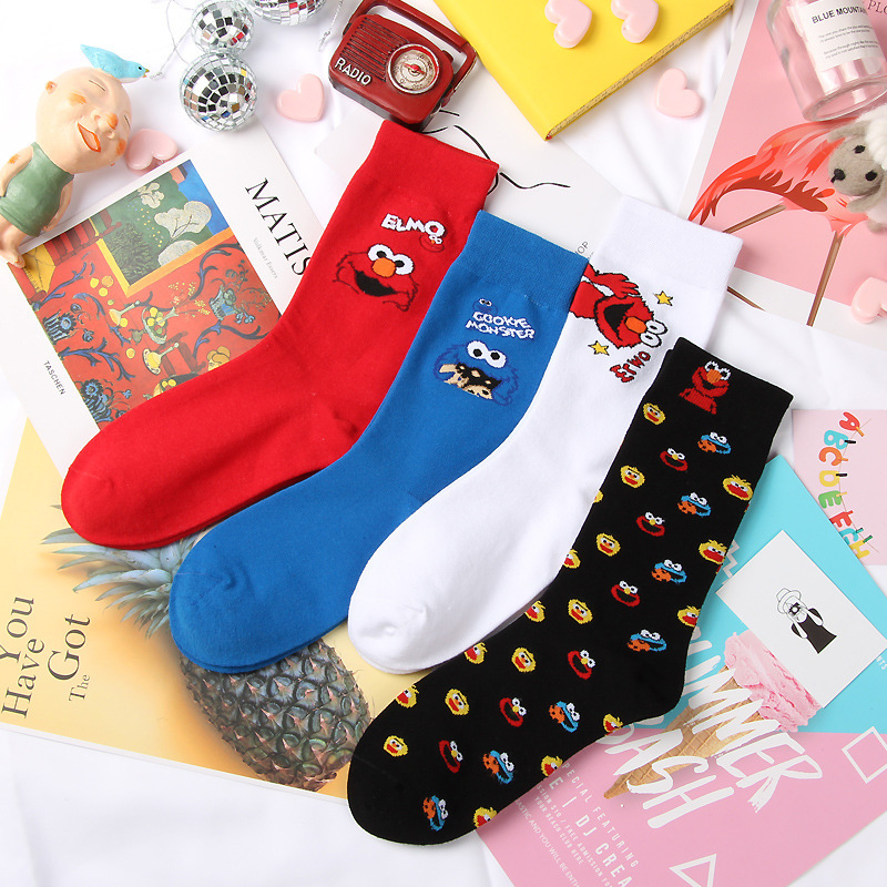 A Pair Of Socks Simpson Cartoon Ankle Sesame Street Funny Simpsons Happy Women Cotton Socks