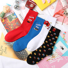 A pair of socks Simpson cartoon ankle sesame street funny Simpsons happy women cotton socks(China)