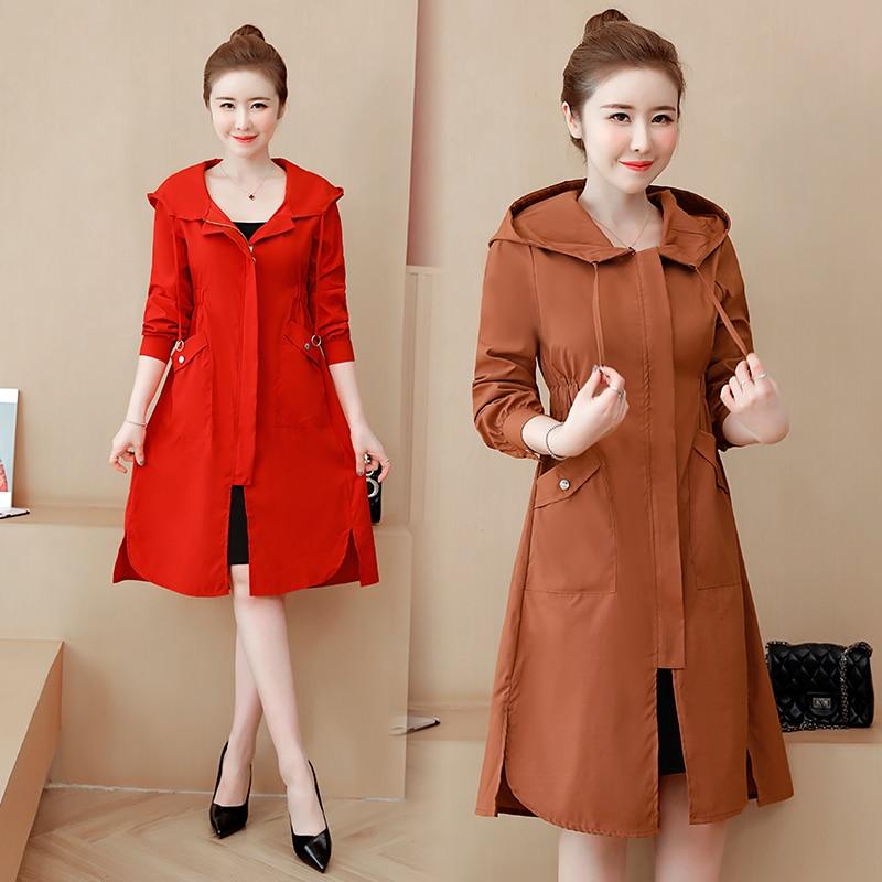 Women Coat Jacket Windbreaker Hooded Brown Slim Autumn Korean Yellow Plus-Size New Red