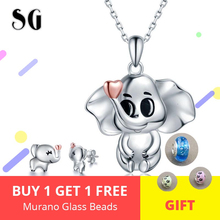 Popular Elegant 925 Sterling Silver Lovely Animal Elephant Jewelry Set for Women Pendant Necklace & Earrings Fashion