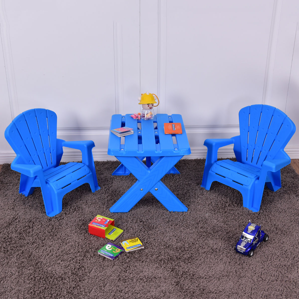 Costway Plastic Children Kids Table & Chair Set 3-Piece Play Furniture In/Outdoor Blue