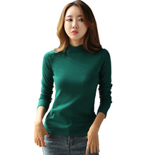 Letter Printed Turtleneck Womens Sweater Autumn Winter Thick Warm Slim Pink Female Basic Pullovers Korean Cotton Ladys