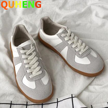 Fashion German Training Women Shoes Flat Casual Sneakers  Ladies Leather Splicing Suede Vulcanized Shoes 2020 Autumn New Trend