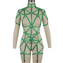 Fashion Green Women Sexy Bandage Bra Garter Belt Full Body Harness Female Push Up Lingerie Dance Club Wear Hollow Cage Punk Goth(China)