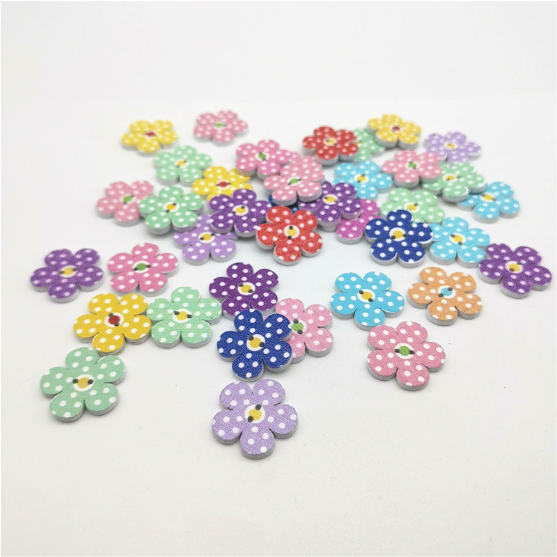 50pcs 20mm Mixed Polka Dots Flower Wood 2 Holes Buttons Sewing DIY Crafts Embellishments For Scrapbooking