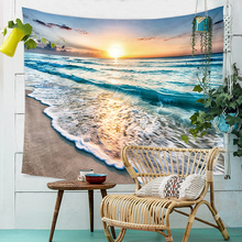 Simanfei Tapestry Digital Printing Beach Wave Background Cloth Living Room Bedroom Tapestry Wall Hanging Home Decoration цена 2017