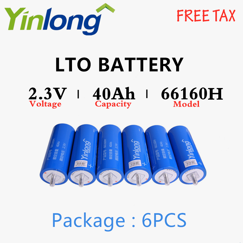 LTO Battery 6PCS Rechargeable <font><b>66160</b></font> 2.3V 40Ah Cylindrical Lithium Titanium Oxide Battery For Electric Vehicles Traffic Signals image