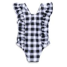 Летняя модная пляжная одежда для новорожденных клетчатый комбинезон с рукавами-крылышками и открытой спиной комбинезон для новорожденной девочки одежда для маленьких девочек Прямая поставка