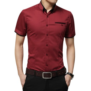 2020 New Arrival marka męska letnia koszula biznesowa z krótkim rękawem skręcić w dół kołnierz Tuxedo koszula koszula męska koszule duży rozmiar 5XL tanie i dobre opinie BROWON CN (pochodzenie) COTTON Poliester Tuxedo koszule Pojedyncze piersi REGULAR Business Shirt Suknem Na co dzień Stałe