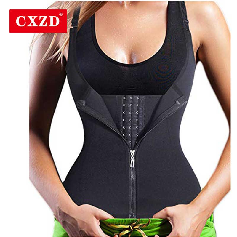 CXZD 여성용 허리 코치 푸시 업 조끼 배꼽 허리 라인 슬리밍 지방 슬리밍 지방 연소 코르셋 지퍼 조끼 크기 S-4XL Shaperwear