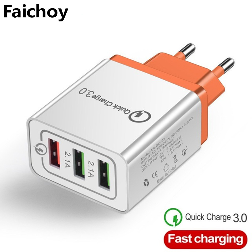 Universal 3 Port USB Charger EU/US Quick Charge 3.0 3A Fast USB Charger Quick Charge Compatible For Iphone Samsung Xiaomi Huawei