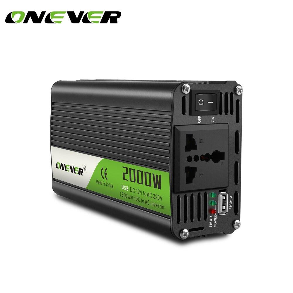 2000W Car Inverter Converter DC 12 V To 220v 2.1A USB Ports Charger Car Power Inverter Support Intelligent Temperature