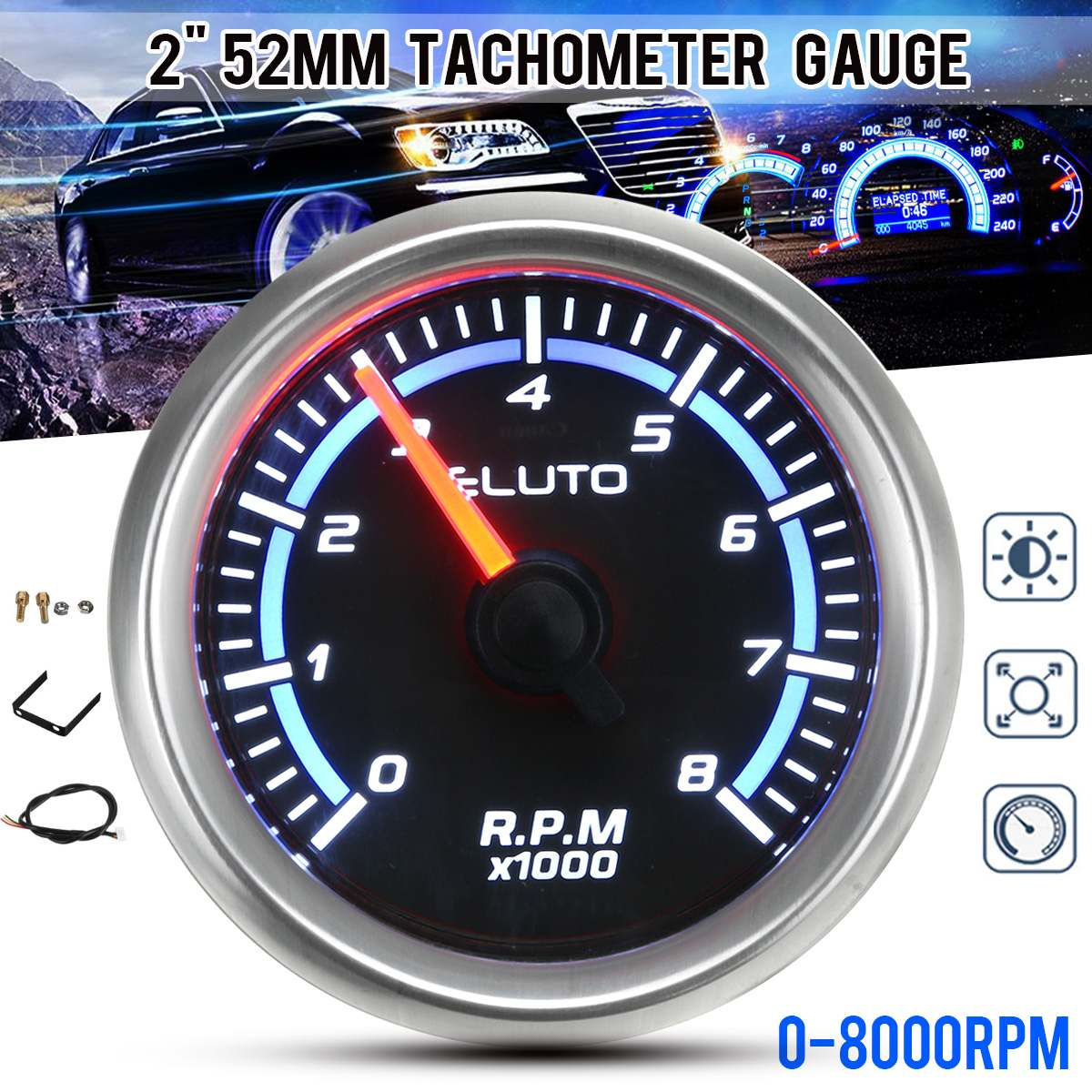 Car RPM Tachometer Gauge 0-8000 RPM Blue LED Display Universal 12V 2