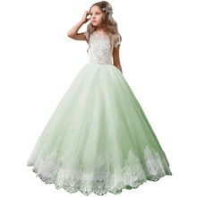 2-13Years Teenagers Kids Baby Children Long Princess Party Evening Dress Short Sleeves Lace Appliqued Beading Flower Girl
