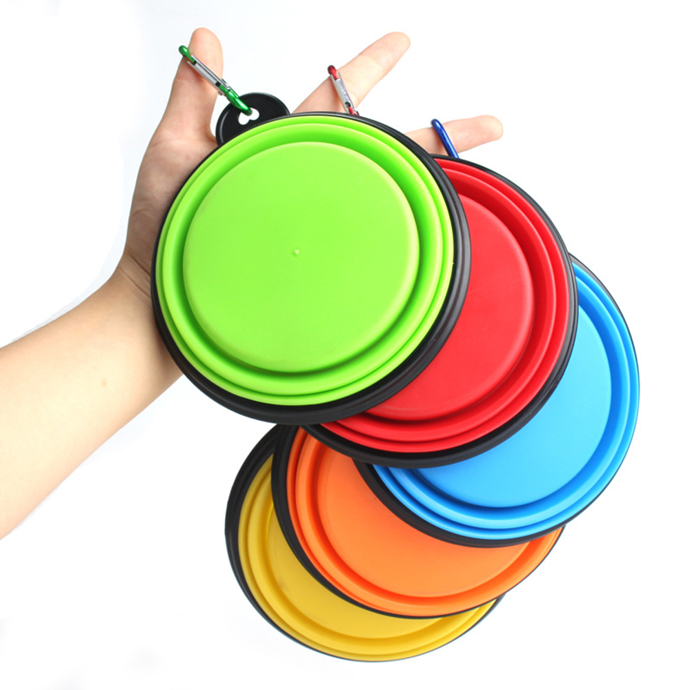 New Collapsible Foldable Silicone Dog Bowl Candy Color Outdoor Travel Portable Puppy Doogie Food Container Feeder Dish On Sale