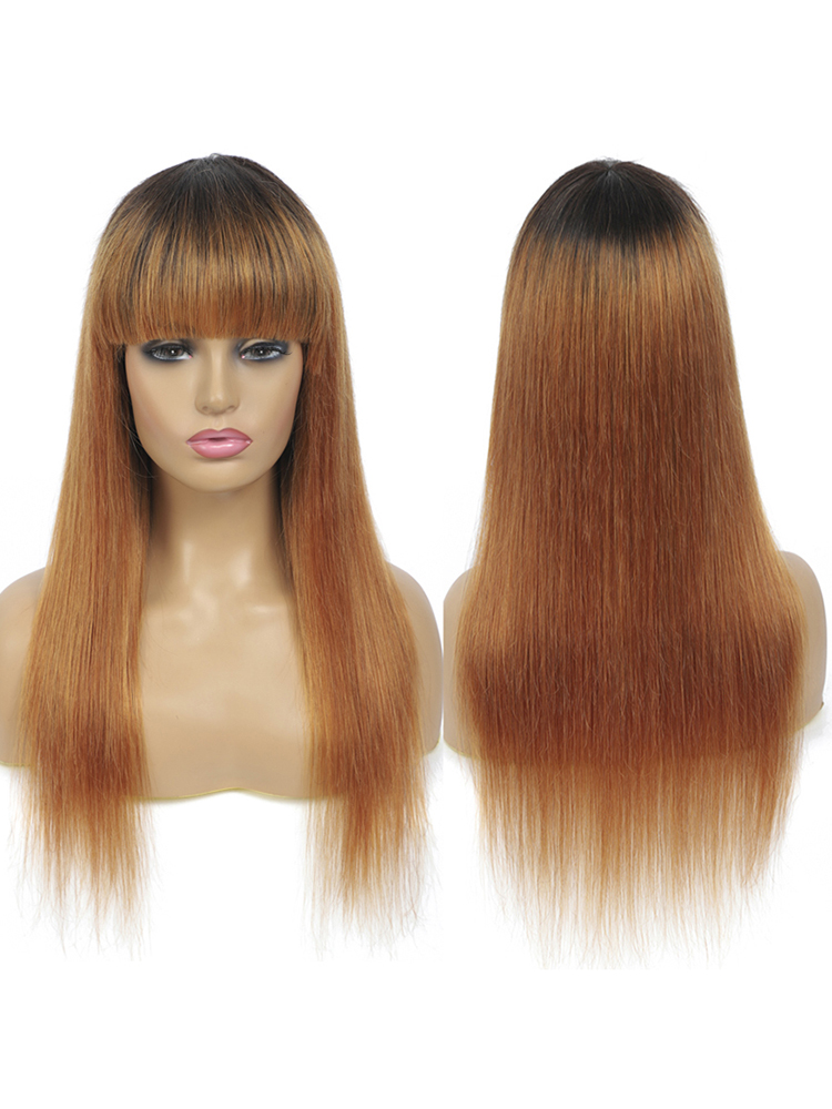 Wigs Bangs Human-Hair-Wigs IJOY Non-Lace Brown Black Straight Full-Machine Women Brazilian