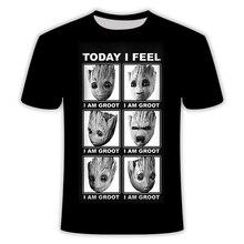 Мужская/женская новая футболка treeman Грут/енот/3D Футболка с принтом harajuku Хип-хоп комиксы Футболка с воротником Азиатский размер S-6XL