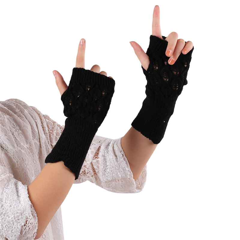 Warm Knitted Fingerless Gloves Hot Hollow Out Leaves Long Section Winter Long Fingerless Knitting Wool Mittens High Quality O24