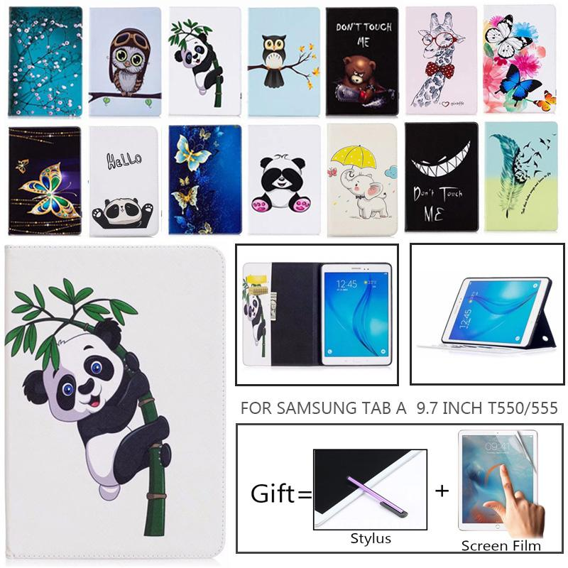 SM-<font><b>T550</b></font> Fashion Cat butterfly Painted Case For <font><b>Samsung</b></font> <font><b>Galaxy</b></font> <font><b>Tab</b></font> <font><b>A</b></font> 9.7 SM-T555 <font><b>T550</b></font> P555 Smart Cover <font><b>Funda</b></font> <font><b>Tablet</b></font> Stand Shell image