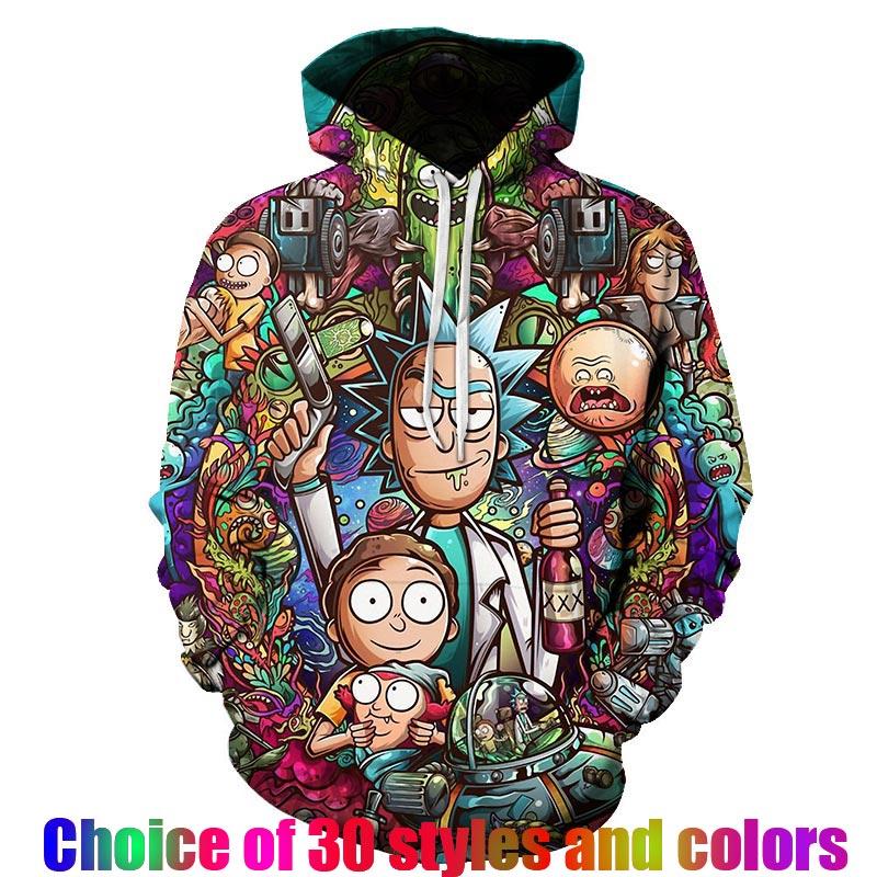 Rick And Morty 2019 New Fashion Hot Sale Harajuku Anime Hoodies Collection 3D Print  Hip Hop  Casual Japan Sweatshirt Streetwe