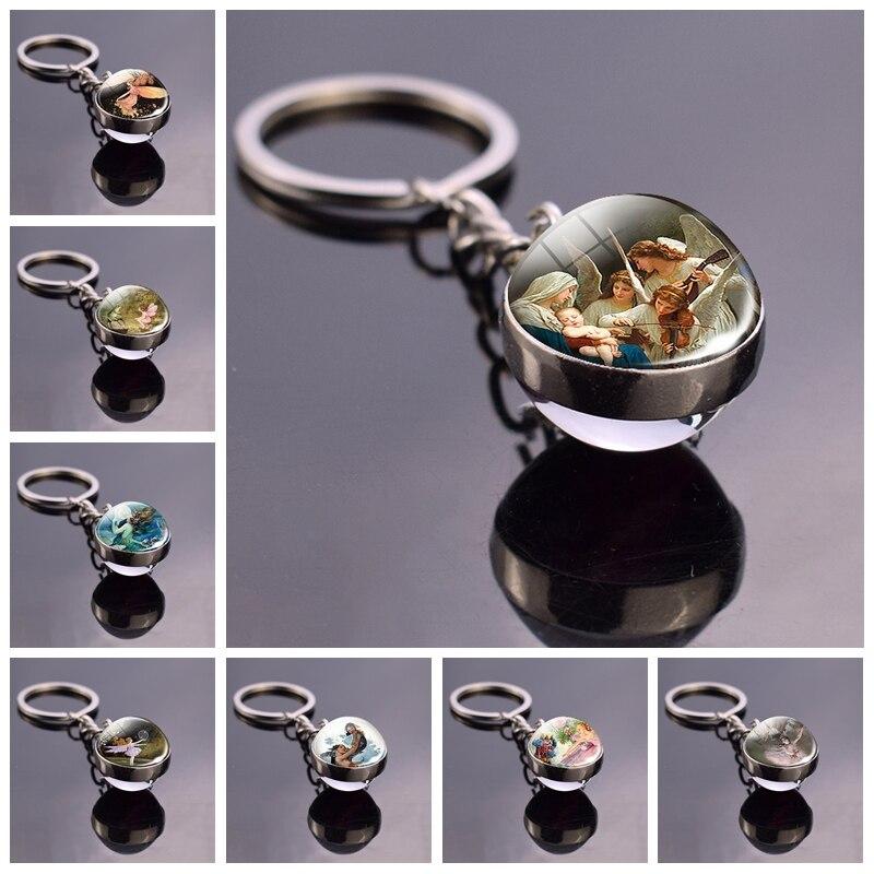 Angels Pattern Romantic Art Glass Ball Keychain Angel Wings Fairy Tale Pendant Women Fashion Jewelry