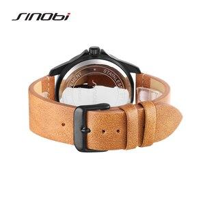Image 4 - Новые мужские часы SINOBI 2020, простые спортивные военные часы, мужские роскошные брендовые модные повседневные коричневые кожаные кварцевые наручные часы