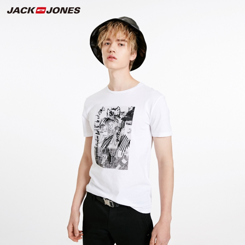 JackJones Men's Printed Round Neckline Short-sleeved T-shirt|Streetwear 219101523