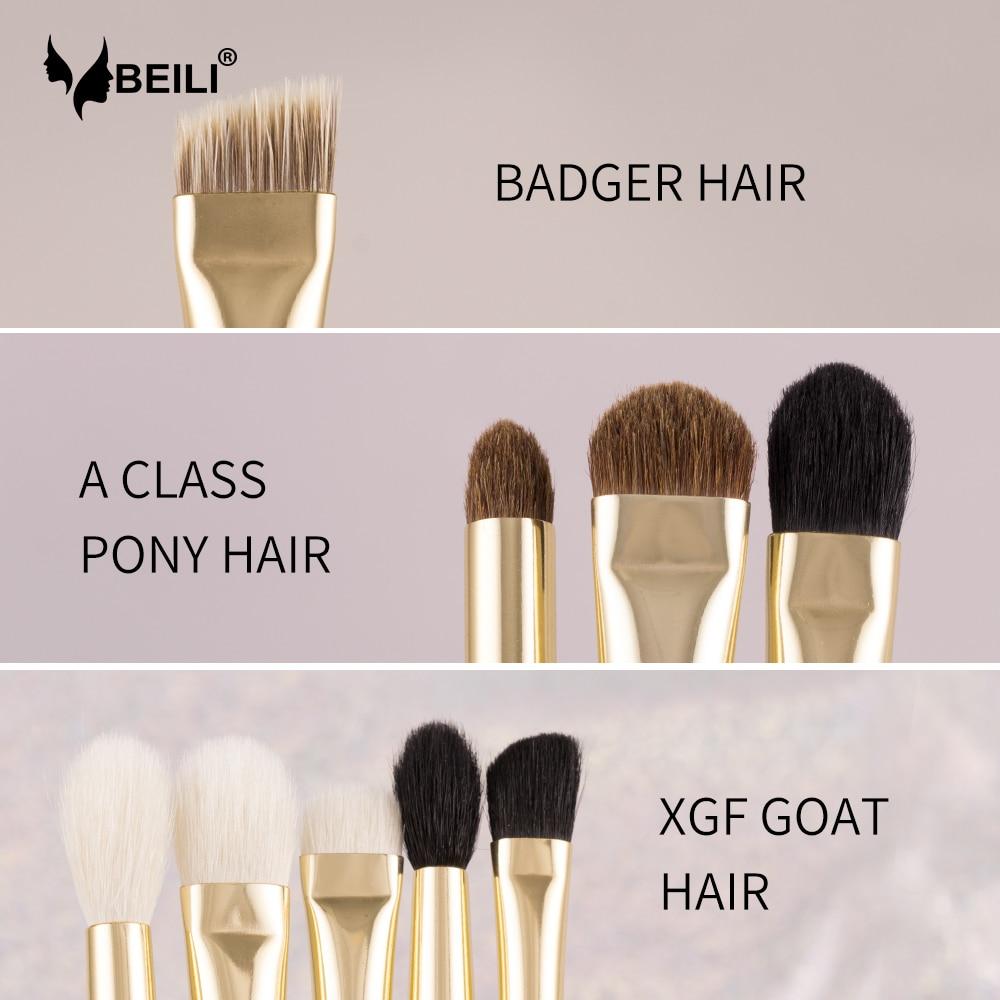 beili luxo 9 pecas natural cabelo de cabra ponei texugo branco profissional maquiagem escova definir olho