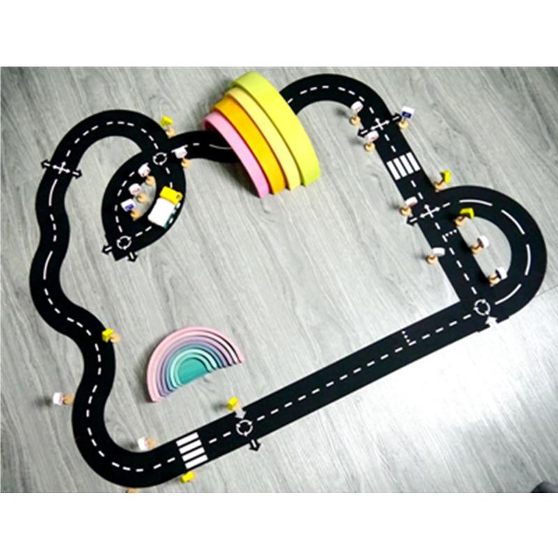 Лидер продаж, комбинированный Коврик-пазл для дороги, напольный гибкий автомобильный трек, пазл-пазл, игровые игрушки для детей, игровой ков...