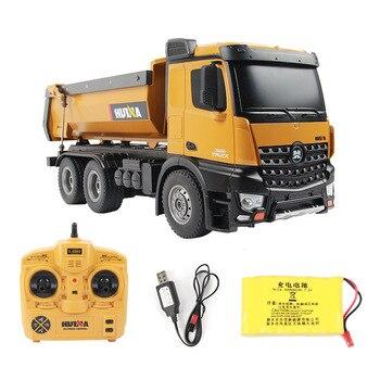 Huina 1573 rtr 2.4 ghz 10 canais 1:14 controle remoto rc caminhão despejo auto-descarga de metal auto demonstração led luz rc brinquedo