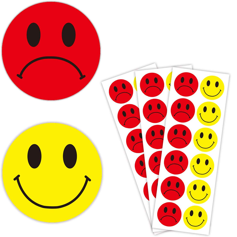 1.5 Inch Self-Adhesive Emotion Sticker Yellow Smiley Red Sad Decoration Label Package Gift Seal Sticker Round Face Sticker