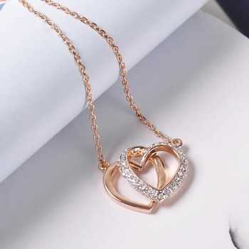 Fashion Necklace Double Hearts Chokers Necklace with Shiny Rhinestone for Women Party Luxury Jewelry Rose Gold Plated BL-00013 image