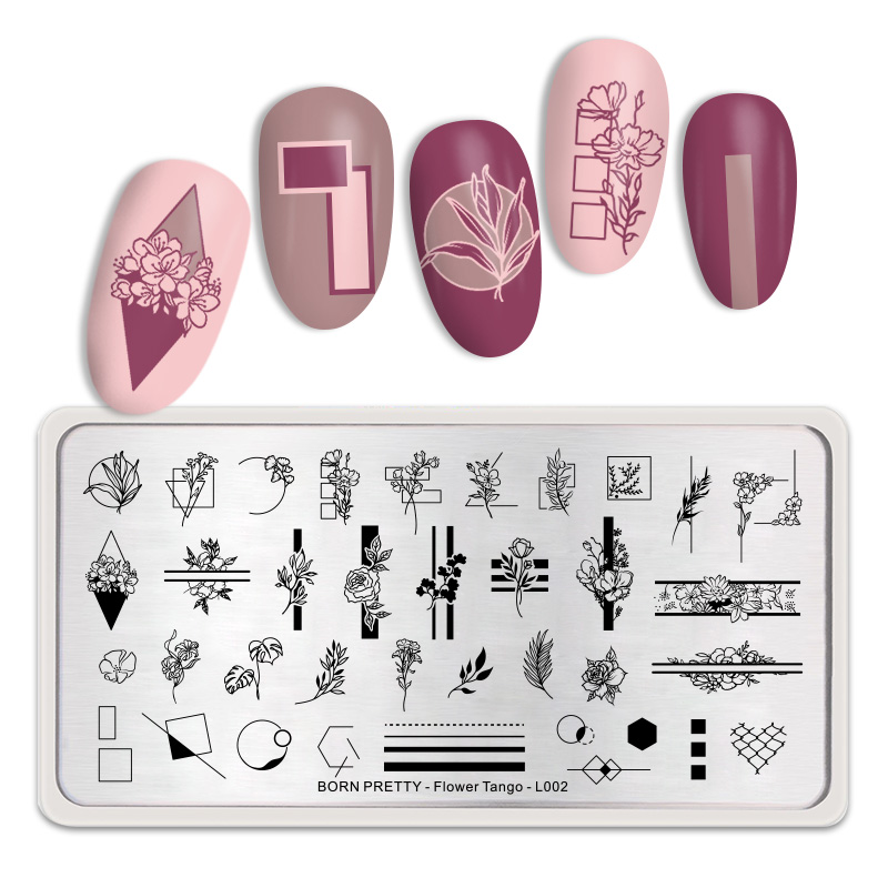 BORN PRETTY Rectangle Nail Stamping Plates Flower Image Stainless Steel Nail Art Stamp Template Stencil Flower Tango L002