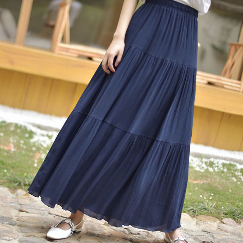 Long Summer Skirt Elastic Waist 2019 High Waist Fashion Maxi Skirt 5 Colors Solid Long Skirts For Women Skirts