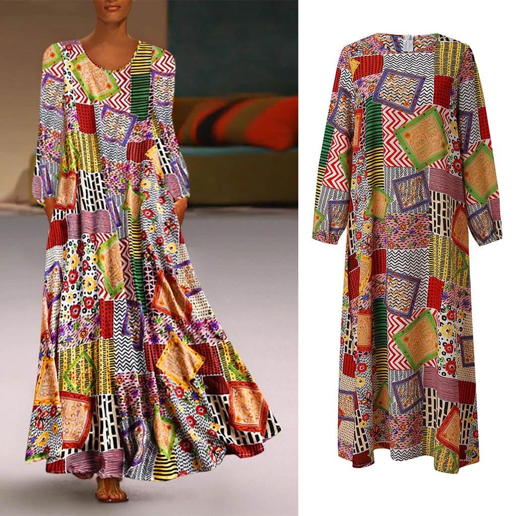 2020 Clothes Women Dresses Autumn Casual Loose Long Sleeve Floral Dresses Boho Style Cotton Linen Long Maxi Dress Vestido#J30