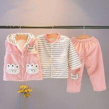 6M-2T Baby Girl winter warm clothes sets 3 piece clothes+Vest+pants cartoon suits plus velvet thick boy clothing Promotion