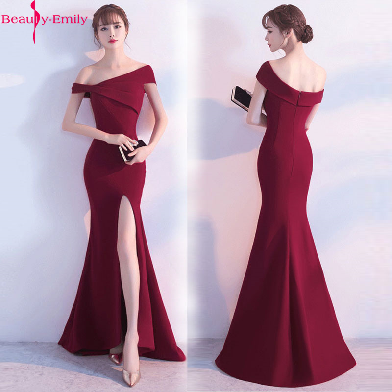 Beauty-Emily One Shoulder Strapless Satin Evening Dresses Long Mermaid Formal Party Dress Split Sexy Prom Gowns 2020 Vestidos