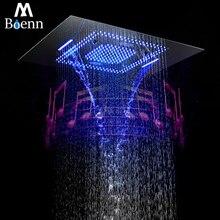 Bluetooth Music Showerhead LED Light Shower Waterproof Speaker Waterfall,Misty Bathroom 304SUS Showers 60*80cm
