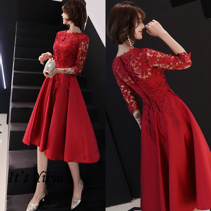It's Yiiya Lace Evening Dresses O-Neck Illusion A-Line Half Sleeve Women Party Dresses Plus Size Zipper Robe De Soiree K322