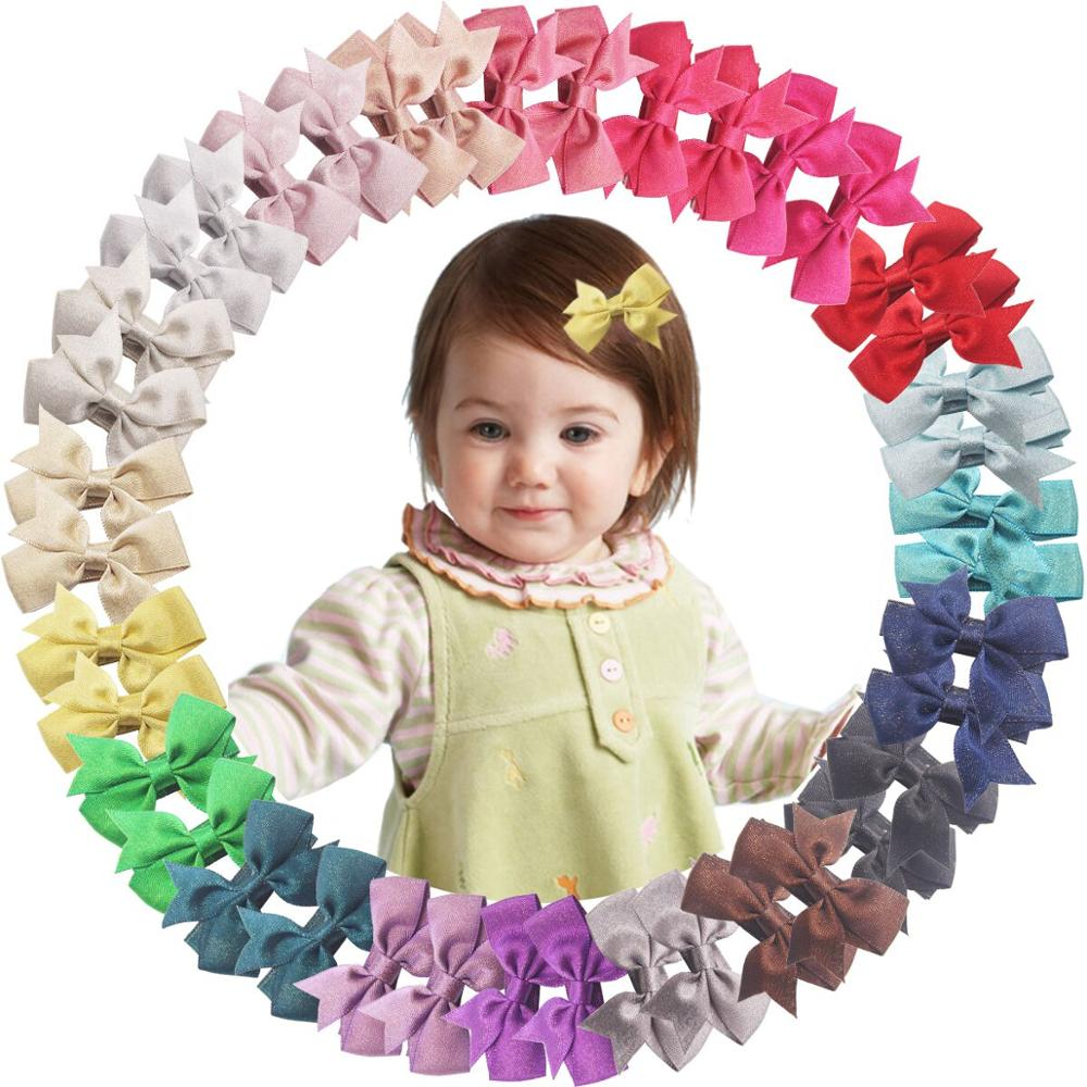 40PCS Mini Baby Clips For Fine Hair 2Inch Glitter Grosgrain Ribbon Hair Bow Alligator Hair Clips Fully Lined For Infants Toddler