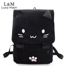 لطيف القط حقيبة من القماش الكرتون التطريز حقائب ظهر للمراهقين حقيبة مدرسية للبنات موضة الأسود الطباعة حقيبة الظهر mochilas XA69H