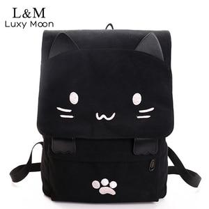 Image 1 - Gato bonito lona mochila dos desenhos animados bordados mochilas para meninas adolescentes saco de escola fashio preto impressão mochila xa69h