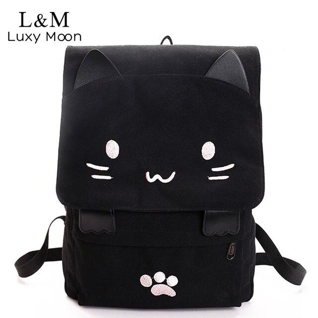 Gato bonito lona mochila dos desenhos animados bordados mochilas para meninas adolescentes saco de escola fashio preto impressão mochila xa69h